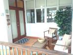 Villa entrance with balcony