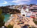 A view of Carvoeiro beach in the center of the old Carvoeiro fishing village