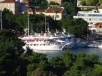 Balcony view on the port of Gruz