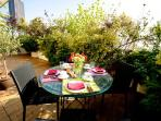Breakfast on the terrace with the view of the Montparnasse Tower