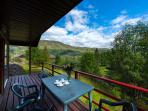 A sensational view to enjoy from the private balcony of The Ptarmigan. Garden furniture