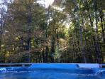 Soak in the warm hot tub as you gaze at the serene woods