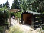 Summer house and pergola to two lounge chairs