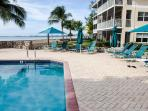 excellent views of seven mile beach from the beach side pool and plenty of shade and privacy