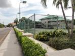 west bay road facing east and tennis courts