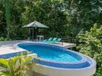 Infinity edge pool nestled in the jungle