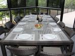 Patio table inside veranda