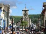 The bustling Keswick market square, just a few minutes walk from Abernethy