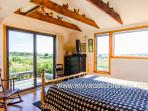 Master Bedroom Opens to Side Deck with Views Across Menemsha Pond