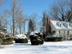 Another view of the Cottage in snow on a sparkling winter day.