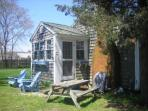 Outdoor living-Private Picnic area with Charcoal grill - 567 Main Street Unit 5 Harwich Port Cape Cod New England...