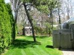 Landscaped backyard with outdoor shower - 58 Longs Lane Chatham Cape Cod New England Vacation Rentals