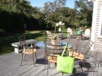 Back Deck with dining and gas grill - 325 Bridge Street Chatham Cape Cod New England Vacation Rentals