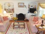 Living room with large flat screen TV - 138 Soundview Avenue Chatham Cape Cod New England Vacation Rentals
