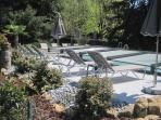 Heated pool with the cover - you can swim under for Le Pommier, Le Rosier, Le Bois