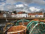 St Monans is an active harbour with shellfish boats and pleasure boats too.