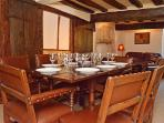 Dining for Eight - Comfy Leather chairs, Beams, Ancient doors, Wattle & daub... Oodles of Character!