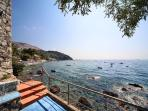 A private walkway of just 110 steps leads you directly from your terrace to the pebbled beach below