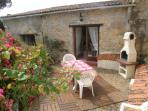 Private and Secluded patio with BBQ, tables and Chairs and 2 sunlounger's