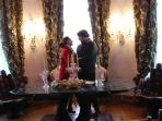 A romantic moment with symbolic giant Salvador Dali joined hands table in the Princess Royal Room,.o