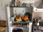 kitchen with oranges from the garden