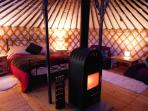 'Nasu' interior with the wood burner lit up