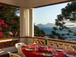 Sorrento Coast villas large terrace with capri island/sea view at villa nil with pool accommodation