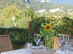 Enjoy alfresco dining with mountain views