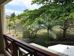 ... la vue sur le jardin et la piscine.