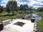 The firepit overlooks one of the dams.  Stunning mountain views too!