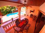 The outside covered Dining Patio is right beside the Private Pool!