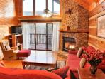 Living Room-deck with mountain view, flat-screen cable TV, gas fireplace, WiFi