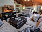 Bedroom 2- Suite | Pillow top king & luxury bedding. Mirrored closet (upper)