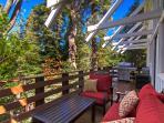 Deck | Beautiful seating. Stainless BBQ w/ burner. Fire pit. Peanuts 4 Blue Jays