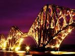 The Forth Rail bridge at night