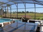 Pool - view from outdoor dining table - seats 10 people