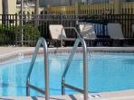 Take a dip in the heated pool during the winter months.