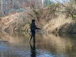 Fly fishing in the local creeks.