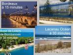 Lieux à proximités : le centre de Bordeaux 15 min et l'océan à 30 minutes
