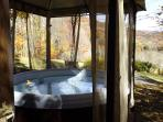 Brand new hot tub with mountain views