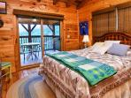 Master bedroom with queen on upper level with private deck