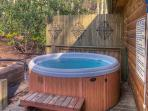 Hot tub on private, back porch.