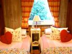 Homestead style: the twin room has vintage design bedding and snuggly quilts