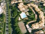 Birds eye view of Mare Nostrum residence with swimming pool