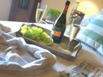 Our welcome pack includes a chilled bottle of Proosecco and fresh seasonal fruit