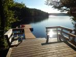 Quality dock from 200ft private waterfront onto beautiful, clean and clear Lake Miskwabi
