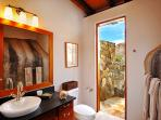 Lower pavilion bathroom with outdoor shower