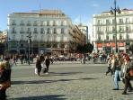 Puerta del Sol, the heart of Madrid, at 2 steps.