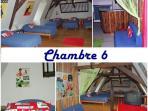 Chambre Jacques Tati et salon du 2 ème étage