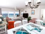 Spacious and conveniently close to the kitchen, the dining area